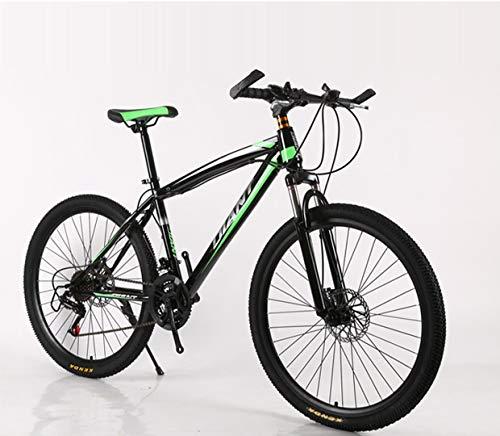 VTT de Montagne 24/26 Pouces VTT avec Frein à Disque Vélo for Hommes Femmes, 21/24/27/30 Vitesses Shimano Drive (Color : Green, Size : 24inch 27 Speed)