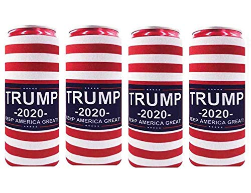 XccMe 4 Pack Soft Neoprene Slim Can Cooler Insulators Slim Can Sleeves for Cans Suitable for 12oz Energy Drink Beer Cans Red Bull White Claw and Seltzer Water (Trump 2020)