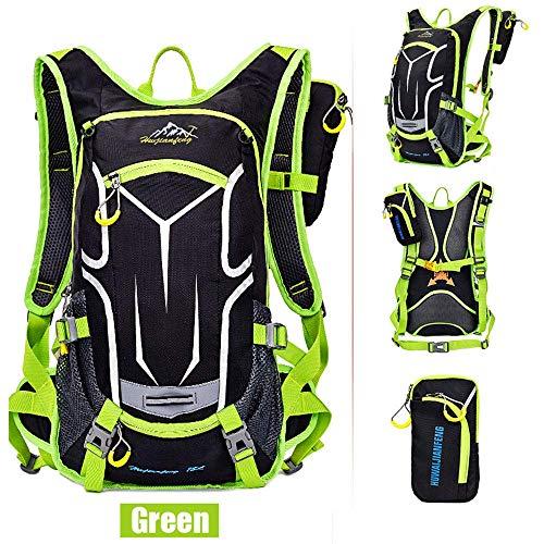 Sac à dos de vélo 18L, sac à dos durable et respirant, imperméable et anti-vol, pour le voyage en plein air, contenant des poches multifonctions, pour la course à pied et la randonnée.Etc,Vert