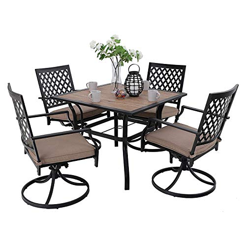 """MFSTUDIO Metal Patio Dining Sets Club Bistro Bar Sets Swivel Dining Rocker Chair with 2.7"""" Thick Cushions and Larger Square Table Furniture Set, Steel Frame, Set of 5"""