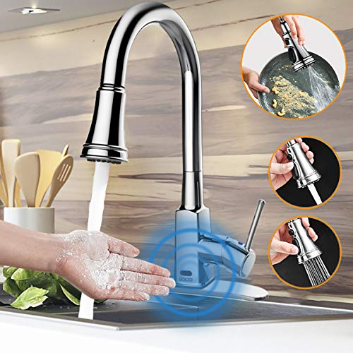 Touchless Kitchen Faucet,Soosi Motion Sensor Single Handle Automatic Kitchen Faucets One/3 Hole 3-Function Kitchen Faucets with Pull Down Sprayer Spot Free Polished Chrome Solid Brass Stainless Steel