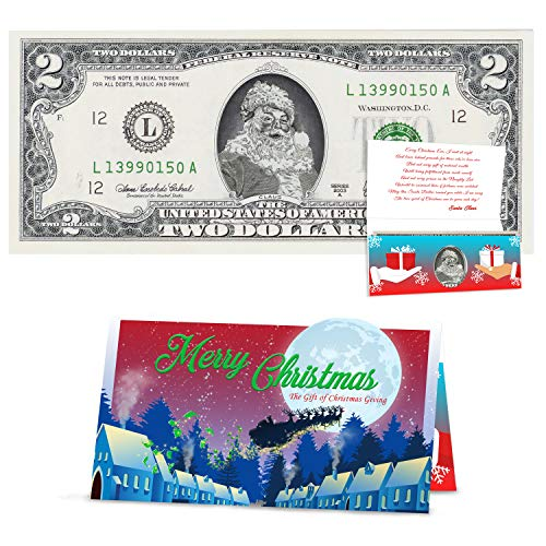 Official Santa Claus $2 Dollar. Real USD with Removable Seal. Perfect Stocking Stuffer