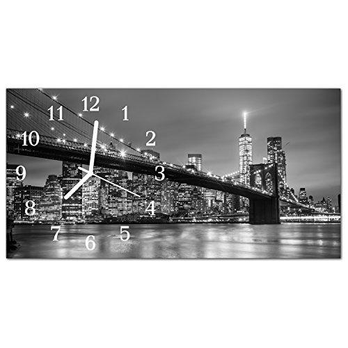 DekoGlas Glasuhr 'Brücke Fluss Grau' Uhr aus Acrylglas, eckig große Motiv Wanduhr 60x30 cm, lautlos für Wohnzimmer & Küche