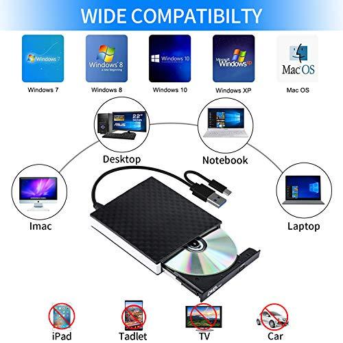 Externes CD DVD Laufwerk Brenner, USB 3.0 & USB-C Tragbare DVD/CD Lesegerät und CD DVD-/+RW Brenner/Plug&Play/niedriger Lärm für Laptop, Desktop, Windows XP / 7/8/10 /Vista, Linux,Mac OS, and Linux
