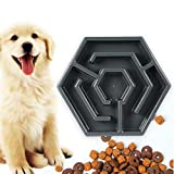 Volwco Hexagon Dog Bowls Slow Feeder Non-Slip Drink Water Bowl, Safe and Healthy Bowl for Dogs, Control Eating Speed, Reduce Stomach Pressure, Control Pet Weight