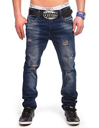 S&B 24brands Jeans Pantaloni in Denim Uomo Effetto Usato Distrutto Blu a Sigaretta Cavallo Basso Clubwear Vintage Look - 3021, Size:30;Colour:Blue