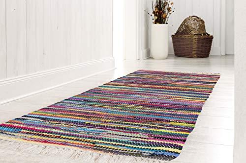 andiamo Bunter Flickenteppich aus Baumwolle, pflegeleichter Fleckerlteppich, handgewebt, robust, 50 x 80 cm