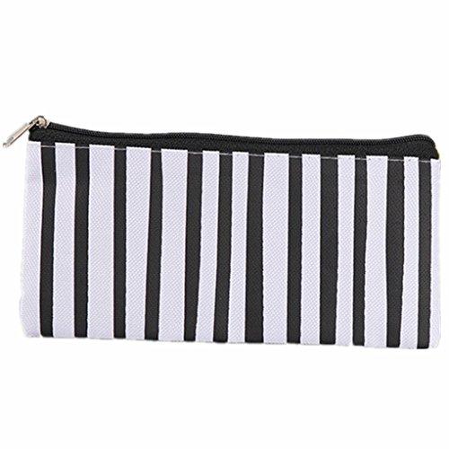 Striped Oxford cloth Pencil Case Black Background White Circle vertical Striped Pencil Bag Stationery Bag 19 x 9.5cm 3
