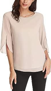 Women's Casual Chiffon Blouse Tops Half Ruffle Sleeve