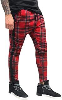 NREALY Pants Mens Long Casual Sport Pants Slim Fit Plaid Trousers Running Joggers Sweatpants