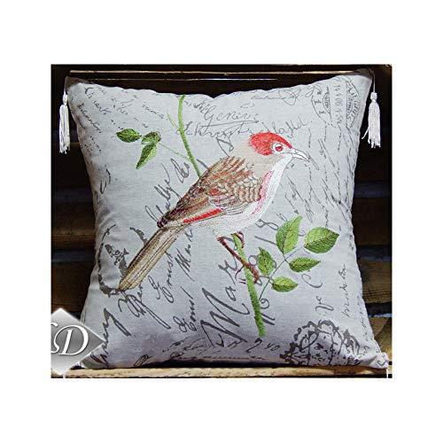 FK-Lampen Housse de coussin - Motif au choix - Aspect lin - Top Design Art Déco - Coussin (oiseau rouge)
