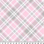 Nursery Pink Plaid Anti-Pill Fleece Fabric by The Yard