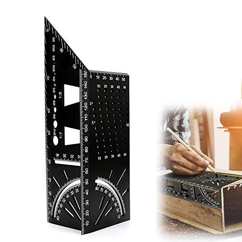 Regla de Medida Cuadrada de Aleación de Aluminio,Regla de Ángulo de Inglete 3D,45 Regla de Ángulo de 90 Grados,Regla de Medida de Tamaño Cuadrado para Carpintería,para Ingenieros,Carpinteros