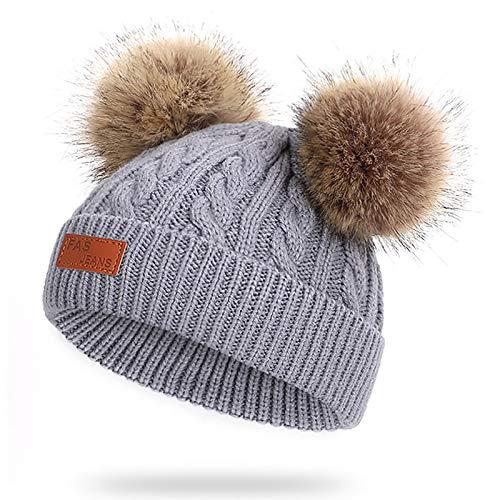 WELROG Baby-Winter-warme Strickmütze-Säuglingskleinkind Kinderhäkelarbeit-Pelz Hairball Beanie-Hut Pom Pom Beanie Baby Jungen Mädchen (Grau)