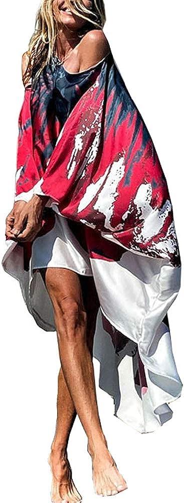 Swahugh Women's Casual Boho Maxi Dress Sexy Sundress Beach Cover Up Dress Loose Kaftan Off Shoulder