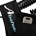 """Abahub Premium Coiled SUP Leash, Stand-up Paddleboard Legrope, 10 feet 7 mm Thick, Black/Blue/Clear/Red/Green/Orange… 14 STRONG and SAFE: This leash is made of Super Strong 7 mm urethane cord, with molded-in double Stainless Steel swivels, plus a triple wrap rail saver. COMFORTABLE AND EASY to USE: Made of elastic polyurethane. High Density Neoprene padded 1.5"""" Ankle Cuff has an easy pull tab with a hidden key pocket. DURABLE: Connection hardware made of durable stainless steel, which can be able to resist the sea water corrosion for a very long time"""