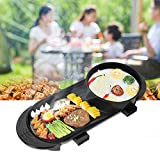 Electric Grill, Electric Barbecue Grill 2 in 1 Hot Pot Chafing Dish Non-Stick Smokeless Pan Electric Cooker UK Plug 220V 68 x 26cm