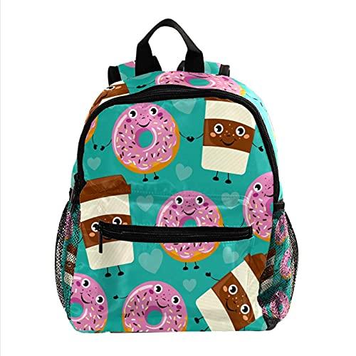 Lustige Cartoon Smiley Donuts Kaffeetasse Leichter Schulrucksack Kleinkind Rucksack Kleine Reise Schultertasche für Jungen Mädchen Kinder
