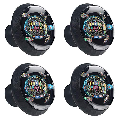 4 Pcs 35mm Colorful Turtle Cabinet Knobs Round Crystal Glass Drawer Handles Pull with Screws for Home, Office, Kitchen, Bathroom Cabinet, Dresser and Cupboard (1-3/8 Inches)