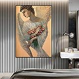 JXFFF 40x60 cm (sans Cadre) Taille Personnalisable 3D Ange Ailes Blanches et Portrait de Fleur Affiche Art Mural Peinture à l'huile sur Toile Photo Mur Salon décoration