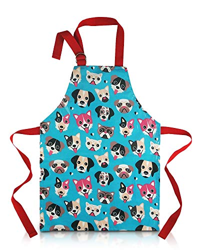 Apron For Toddler - Waterproof PVC Dog Print With Adjustable Straps For Little Cooks and Messy Artists (Blue Small)
