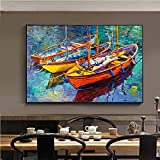 BailongXiao Cuadro En Lienzo Paisaje del océano con el Barco del océano al Atardecer Carteles y fotografías decoración de la Pared decoración para Sala de arte30x45cmPintura sin Marco