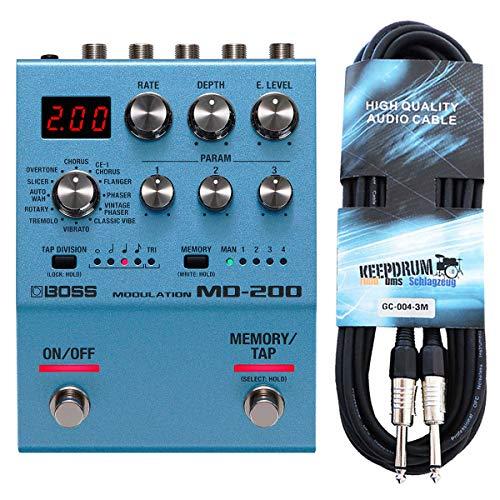 Boss MD-200 Modulation Multi-Effektgerät + keepdrum Gitarren-Kabel 3m