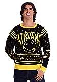 FEA Merchandising Nirvana Smiley Pattern Ugly Christmas Sweater (Medium) Black