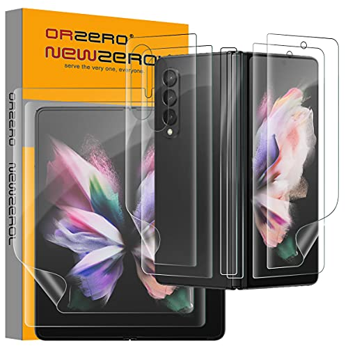 NEWZEROL 2 Sätze Kompatibel für Samsung Galaxy Z Fold 3 5G Bildschirmschutz, Einschließlich äußerer Bildschirmschutz + Innerer Bildschirmschutz + Rückseitenfolie + Scharnierfolie, 3D TPU Kratzfester Schutz