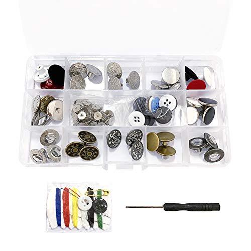 Botones de repuesto de 20 mm y 17 mm, botones de metal con remaches y botones de metal de la base de tachuelas Kit de reemplazo