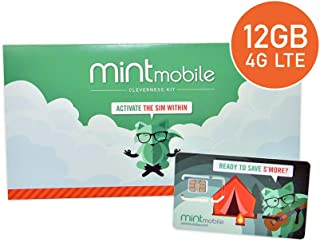 $25/Month Mint Mobile Wireless Plan | 12GB of 4G LTE Data + Unlimited Talk & Text for 3 Months (3-in-1 GSM SIM Card)