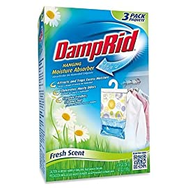 Damp Rid Hanging Moisture Absorber, Fresh Scent, Set of 3 (Pack of 1) 10 Eliminates unpleasant odors and traps excess moisture Simply unfold packet and hang leaving enough space for air circulation When all of the white pellets are dissolved dispose of freshener and replace