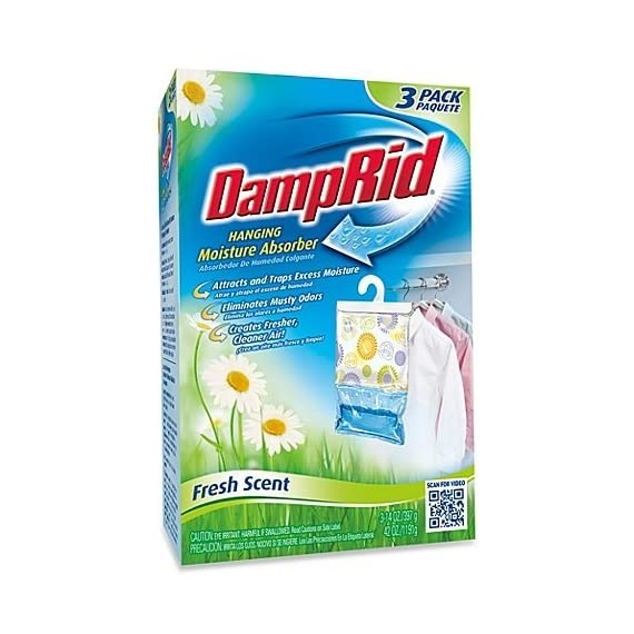 Damp Rid Hanging Moisture Absorber, Fresh Scent, Set of 3 (Pack of 1) 1 Eliminates unpleasant odors and traps excess moisture Simply unfold packet and hang leaving enough space for air circulation When all of the white pellets are dissolved dispose of freshener and replace