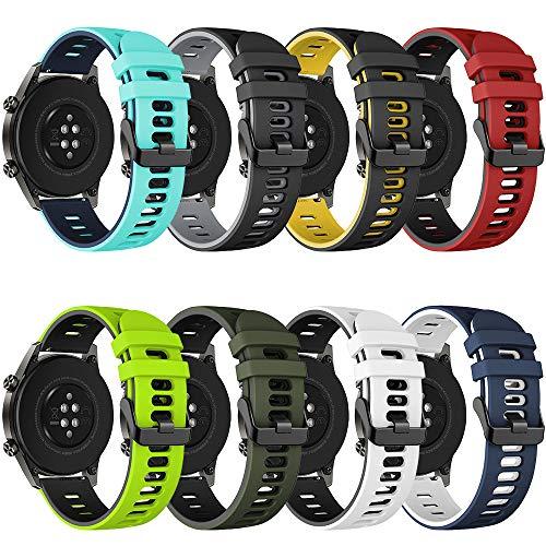 Songsier Armband Kompatibel mit Huawei Watch GT2 Pro 46mm/Watch GT 46mm/Watch GT Active/Watch 2 Pro/Galaxy Watch 3 45mm/Galaxy Watch 46mm/Gear S3/Gear 2, 22mm Silikon Ersatzarmband