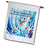 3dRose fl_202205_1 White Dove in Apple Tree, Blue Abstract, Rosh Hashanah Garden Flag, 12 by 18'