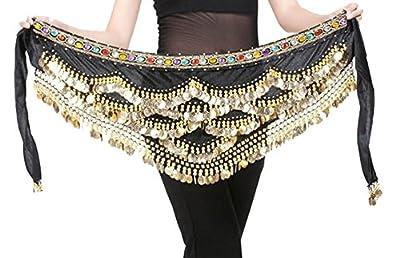 Aivtalk Belly Dance Hip Scarf Gold Coins Belly Dance Costume Skirt Wrap Belt