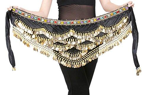 Aivtalk 328 Coins Women Belly Dance Dancing Hip Scarf Wrap Black