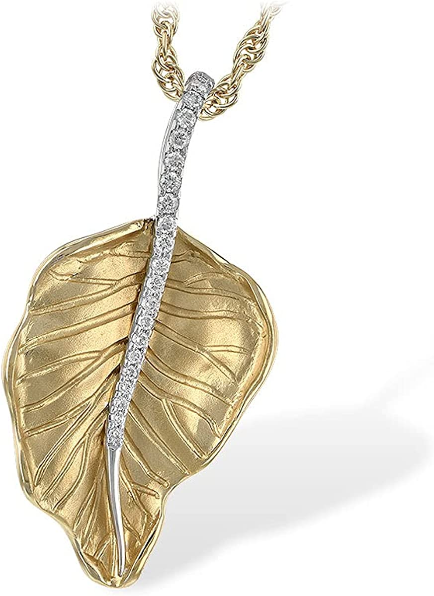 14K Yellow Gold Diamond Leaf Allison OFFicial store Max 84% OFF Kaufman Necklace Collec