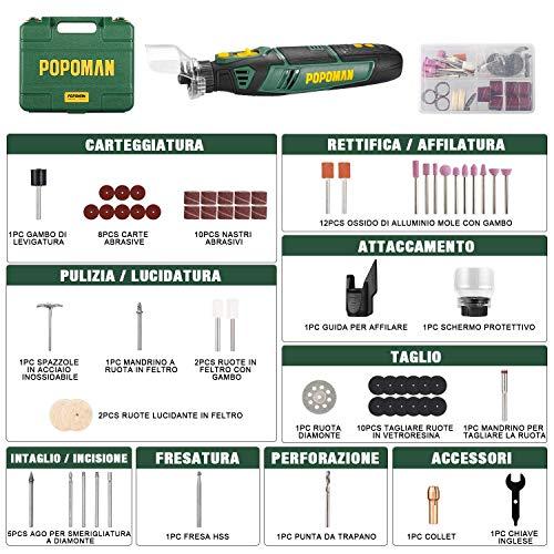 Utensile Multifunzione, POPOMAN 8V Mini Trapano Senza Fili a 5 Velocità Variabile, Mini Utensile Rotante con 58 Accessori Multifunzionali, 2.0Ah Batteria Agli Ioni Di Litio, Caricatore Rapido-PMRT02D