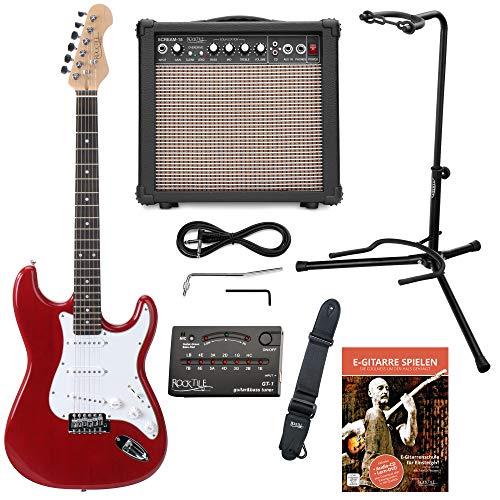 Rocktile Sphere Classic Red E-Gitarre Set (E-Gitarre in ST-Design mit 3 Tonabnehmer und Tremolo, inklusive Verstärker, Ständer, Stimmgerät, Gurt und Gitarrenkabel) Rot