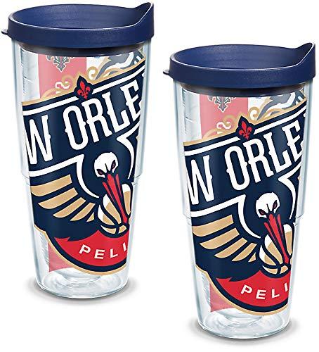 Tervis 1096796 NBA New Orleans Pelicans - Vaso con envoltura y tapa azul marino (2 unidades, 24oz), transparente