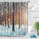 Cortina de Ducha de Tela Impermeable Patrón Abstracto Mandala Accesorio de baño