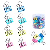 Binder Clips, Limque Paper Clips,Paper Clamps with Colored Cute Hollow Smiling Face,100 Pcs 0.75 inch/19mm Size Clips, for Office,Teacher Gifts and Kitchen,Small/Mini