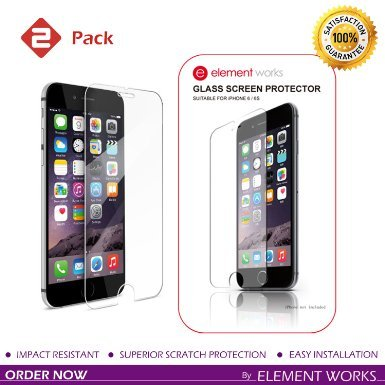 Element Works iPhone 6, 6S Screen Protectorx2605; Pack of 2 Tempered Glass Protector with Curved Edges