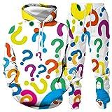 DREAMING-Otoño e invierno símbolo colorido de manga larga Pullover Top + pantalones con piernas traje deportivo Impresión 3D Suéter con capucha traje de pareja L