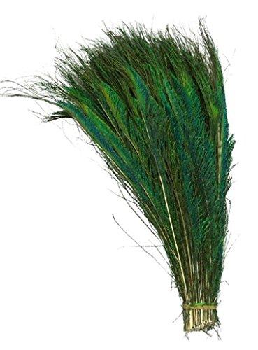 ERGEOB® Natürliche Pfauenfedern Pfauen 30-40 cm/ 12-16 Zoll Länge schneidiges Schwert Queling Pfauenfeder 50 stück