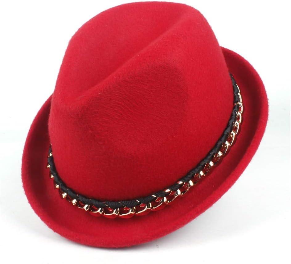 Solid Color Wool Fedora Hat Unisex Wool Felt Hat Metal Decoration Narrow Neck Winter Hat Fashion Gentleman Cap ZRZZUS (Color : Red, Size : 56-58cm)