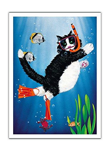 Pacifica Island Art Schnorchel Kitty - Unterwasser-Schnorchel-Cat von Peter Powell - Premium 290gsm Giclée Kunstdruck - 30.5cm x 41cm