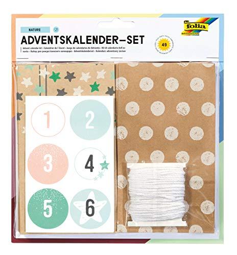 folia 9396 - Adventskalender Set Nature, mit 24 lebensmittelechten Papiertüten je 10 x 17,5 x 5,5 cm groß, 7 m Kordel und Zahlensticker