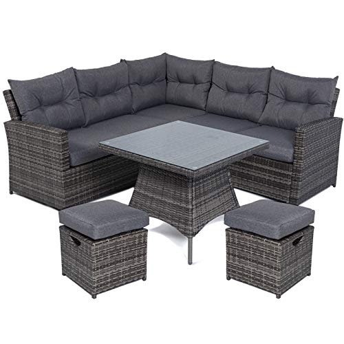 Mayfair Premium Rattan 5-7 Seater Lounge/Dining High Back Sofa Set - Mixed Grey Weave